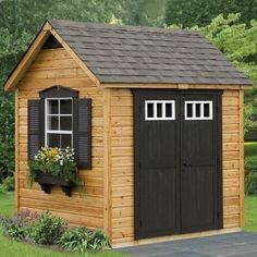 Wooden garden shed with brown door and trim