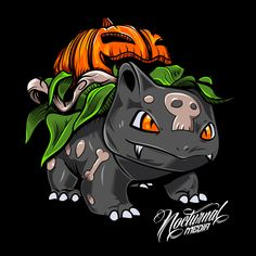 After seeing a Render of a pumpkin ivysaur I just had to create one of my own. Pokemon Breeds, My Pokemon, Venusaur Pokemon, Bulbasaur, Pokemon Painting, Pokemon Halloween, Pokemon Official, Pokemon Tattoo, Cute Pokemon Wallpaper