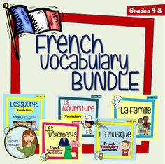 French Vocab Bundle : Sports, Family, Clothing, Food, and Music!