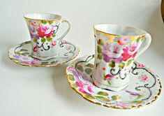 For your consideration are 2 beautiful vintage Expresso teacup and saucers, made in Japan. Both the cups and saucers are in excellent condition with no chips, and no cracks. They are have a lovely hand painted floral design. If you have any questions please convo me! To see more
