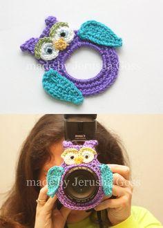 Crocheted Purple owl camera lens buddy lens by designsbyjerusha, $12.50