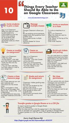 A Handy Infographic Featuring 10 Things Every Teacher Should be Able to Do on Google Classroom (Educational Technology and Mobile Learning) - A Handy Infographic Featuring 10 Things Every Teacher Should be Able to Do on Google Classroom