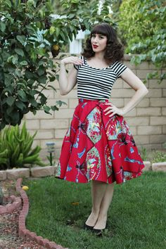 Trashy Diva Circle Skirt in Red Fans Print Modcloth Roller Derby Date Top in…