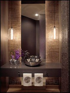 Powder Room - Contemporary with a metallic hue palette, unique tiles & wall cove. Powder Room - Contemporary with a metallic hue palette, unique til Contemporary Bathroom Designs, Contemporary Decor, Contemporary Curtains, Contemporary Stairs, Contemporary Building, Contemporary Cottage, Contemporary Apartment, Contemporary Wallpaper, Contemporary Chandelier