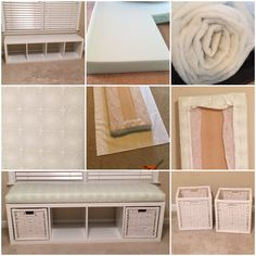 IKEA hack - shelving unit turned into a window bench for my gender neutral nursery. I used the Kallax shelving unit and two storage bins from Ikea, a piece of MDF board (cut at Home Depot), cushion foam from Home Depot, fabric of choice and quilt batting from Walmart.