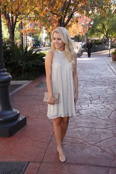 This cream shift dress is killer sparkly in person! $50. ✨ #ShopALB #ApricotLaneTS