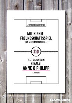 Party Favors - Print / Print: For football fans - Wedding / Love - a designer . Wedding Fans, Wedding Gifts, Soccer Party, Party Favors, Wedding Invitations, Happy Birthday, Words, Quotes, Prints