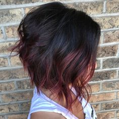 Black Angled Bob with Burgundy Balayage bob hairstyles for thick hair black 50 Trendy Inverted Bob Haircuts Inverted Bob Haircuts, Bob Haircuts For Women, Wavy Bob Hairstyles, Prom Hairstyles, Short Haircuts, Inverted Bob Cuts, Braided Hairstyles, Graduated Bob Haircuts, Trendy Haircuts