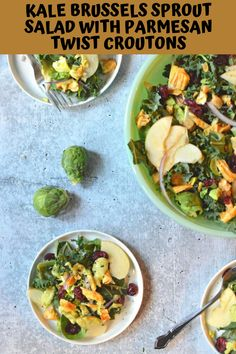 Kale Brussels Sprout Salad includes mixed greens, apples, dried cranberries, and red onion with Parmesan twist croutons. It's green goddess heaven!