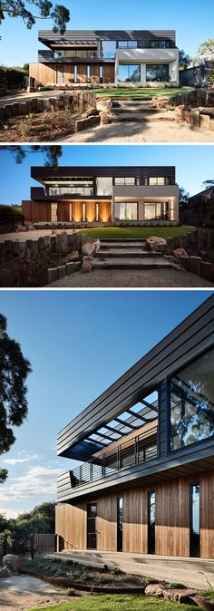 Architectural firm Bryant Alsop have designed a new home in Mount Martha, Australia, for a semi-retired couple who wanted to have a private haven to entertain guests. Contemporary Stairs, Contemporary Building, Rustic Contemporary, Contemporary Architecture, Contemporary Interior, Architecture Design, Contemporary Garden, Contemporary Apartment, Contemporary Wallpaper