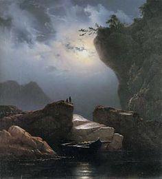 Knud Baade (1808-1879): Coastal Landscape by Moonlight, 1851