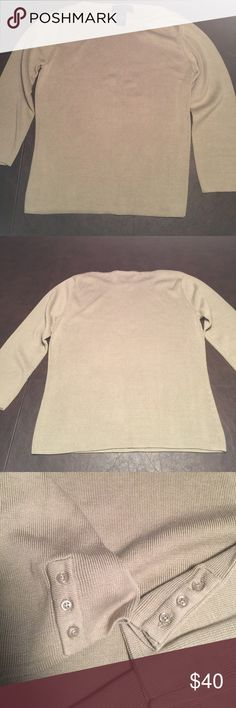 Silk/cotton blend 3/4 sleeve sweater Geoffrey Beene tan, silk blend, fine-knit sweater. Great condition. Shoulder and wrist 3 button detail. Fit is similar to a long sleeve shirt, yet hangs more beautifully. Geoffrey Beene Sweaters Crew & Scoop Necks