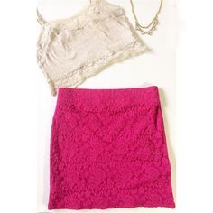 """pink PacSun skirt Hot pink tight fitting spandex skirt with lace layer sewn over a slip like skirt. Elastic waist band is 12"""" across. The skirt is 14"""" in length and sits above the knee. Purchased at PAC sun. Sexy and perfect for the warmer seasons. Nollie Skirts Mini"""