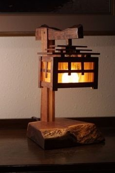 Arts U0026 Crafts Style Mesquite And Stained Glass Lamp With An Asian Flair.