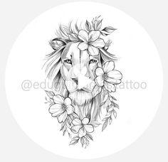 Leo Lion Tattoos, Female Lion Tattoo, Cute Tattoos, Body Art Tattoos, Small Tattoos, Sleeve Tattoos, Sunflower Tattoo Design, Flower Tattoo Designs, Tattoo Designs Men