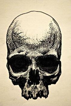"eatsleepdraw:  ""skull"" drawing / micron pen on paper"