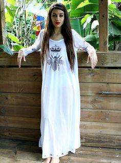 81e7b97741 Queen Bee Silky White Nylon Nightgown Bridal by SarafinaDreams