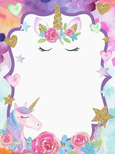 invitacion invitation unicorn Image by 🖤༺ⵕᥙᥱᥱᥒ༻💜 Unicorn Themed Birthday Party, Unicorn Birthday Invitations, Birthday Party Decorations, 5th Birthday, Unicorn Images, Unicorn Pictures, Unicorn Wallpaper Cute, Invitation Fete, Unicorn Backgrounds