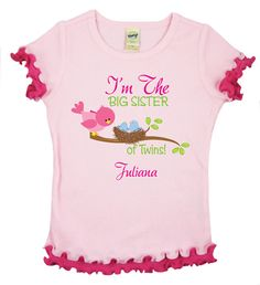 I'm The Big Sister of Twins Cute Boy Baby Birdies by TheCuteTee, $14.50