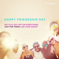 Happy Friendship Day to everyone. Get Flat 20% OFF on www.LetterNote.com just for today. Afterall, what are friends for? ☺✌  #LetterNote #sale #discount #shopping #offer #weekend #friends #friendship #friendsforever #friendsforlife #gift #giftideas #gifting #style #fashion #designbrand #inspiration #travel #adventure #together #togetherforever #love #life #buddy #pal #share #wow