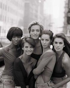 Naomi Campbell, Eva Evangelista, Nadja Auermann, Christy Turlington & Cindy Crawford - Summit Reunion   Fashion | Tumblr