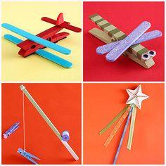Por si olvidáis coger los juguetes de los peques en vacaciones, aquí tenéis algunas ideas muy sencillas para hacer aviones o jirafas con pinzas de la ropa y poco más. http://www.parents.com/fun/arts-crafts/kid/simple-wood-crafts/