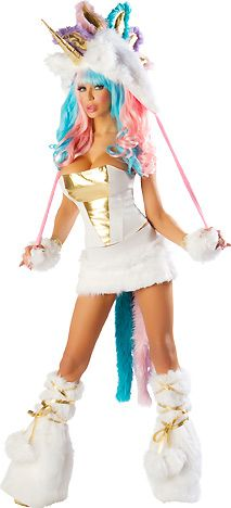 Sexy Unicorn  Seven Piece Sexy Unicorn Costume for Women includes Side Zipper Corset with Lace-up Back, Pull-on Skirt with Attached Tail, Faux Fur Unicorn Hood with Pom-poms, Matching Faux Fur Legwarmers, and Fingerless Gloves.