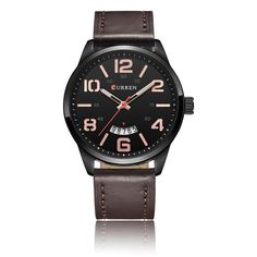 #Zapals - #Zapals CURREN 8236 Waterproof Big Numerals Leather Band Quartz Watch - AdoreWe.com