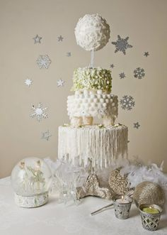 Fun and different. Cool presentation.... Winter wedding cake - by Cakeability Green