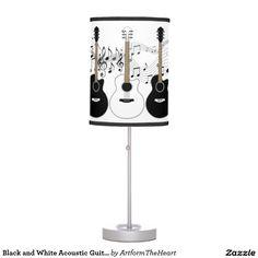 Black and White Acoustic Guitars Pop Art Vector