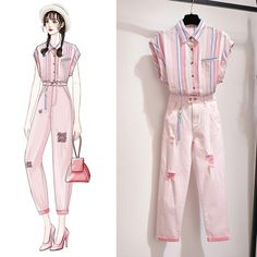 Small Fragrance Stripe Suit Women's Clothing New Net Red Shirt Two-piece Set Of Ocean Age Gas Hole Pants Fashion Drawing Dresses, Fashion Illustration Dresses, Fashion Dresses, Korean Outfits, Mode Outfits, Casual Outfits, Fashion Design Drawings, Fashion Sketches, Girls Fashion Clothes