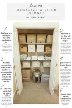 Declutter, organize, & style your linen closet with these handy tips. Declutter, organize, & style your linen closet with these handy tips. Bathroom Closet Organization, Home Organization Hacks, Closet Storage, Organizing Ideas, Pantry Organisation, Small Pantry Closet, Bathroom Linen Closet, Organising, Laundry Room