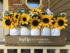 New ideas sunflower wedding shower decorations mason jars Sunflower Centerpieces, Mason Jar Centerpieces, Sunflower Decorations, Decorating With Sunflowers, Yard Decorations, Shower Centerpieces, Centerpiece Ideas, Spring Decorations, Mason Jar Crafts