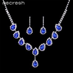 Mecresh Blue Crystal Teardrop Wedding Bridal Jewelry Sets Rhinestone Necklace Set for Women African Beads Jewelry Set TL018 //Price: $10.17 & FREE Shipping // Get it here ---> https://bestofnecklace.com/mecresh-blue-crystal-teardrop-wedding-bridal-jewelry-sets-rhinestone-necklace-set-for-women-african-beads-jewelry-set-tl018/    #Necklace