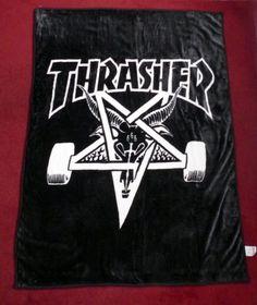 NWOT Thrasher Skateboard Magazine Skategoat Logo Black Blanket 64X47.5 Skate  #Thrasher