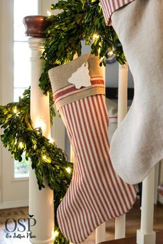 Christmas Home Tour | On Sutton Place | Handmade Christmas stocking from suttonplacedesigns.com