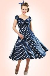 Collectif Dolores Doll Blue Polka Swing Dress 10243