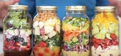 4 Mason Jar Salad Recipes To Make In Advance Mason Jar Meals, Meals In A Jar, Mason Jars, Pre Made Meals, Meal Ready To Eat, Make Ahead Salads, Cuisine Diverse, Salad In A Jar, Salad Bar