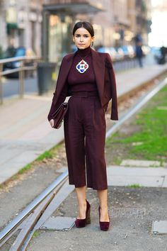 Miroslava Duma - total burgundy red with statement necklace - Milan Fashion Week F/W '14