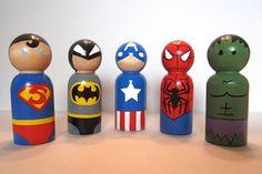 Superhero Peg Dolls or Christmas Ornaments - Set of 5