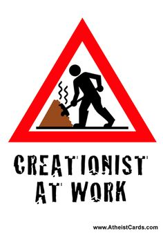 Creationist At Work - Atheist Cards Free Cards, Atheist, Shovel, Cool Things To Make, Face Masks, Religion, People, Fun, Dustpan