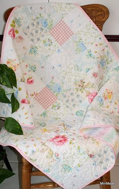 Modern Vintage Baby or Lap Quilt Pastel Vintage Sheets by MiniMade, $95.00 This is so Beautiful!!!