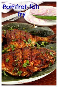 Pomfret fish fry Pomfret Fish Recipe Indian, Indian Fish Recipes, Ethnic Recipes, Prawn Recipes, Fried Fish Recipes, Seafood Recipes, Carlsbad Cravings, Bengali Food, Kitchens
