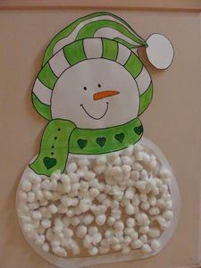 Sneeuwpop met propjes papier