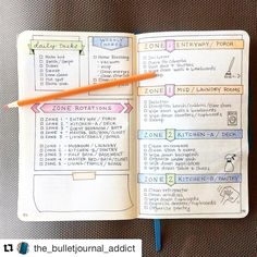 Love this #cleaning zone post from @the_bulletjournal_addict. You should check out her account too. She's got mad #doodle skills. #Repost @the_bulletjournal_addict (via @repostapp) ・・・ I finally got my cleaning pages started, inspired by some photos in one of the fb groups (I don't know her IG name or else I'd credit her! If you know, please tag her). I need a quote for the empty space, any suggestions? #help!  #flylady  #bulletjournal #bujo #bulletjournaling #bujojunkies #bujolove…