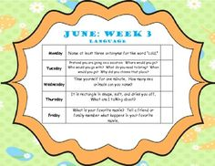 Free! Language Homework for June....Home Program