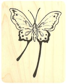 """{Single Count} Unique & Custom (2 1/2"""" by 3"""" Inches) """"Exotic Summer Butterfly"""" Rectangle Shaped Genuine Wood Mounted Rubber Inking Stamp"""
