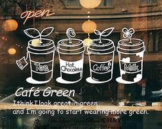 Cake Coffee Cafe Tea Shop Window Sign Stickers Wall Decal Vinyl Decor Art Mural in Business, Shop Equipment, Signs | eBay