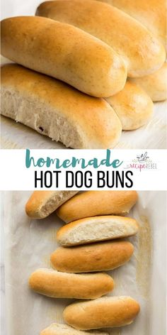 These Homemade Hot Dog Buns will take your barbecue to the next level! They are soft and fluffy and way better than store bought! Homemade Hot Dogs, Homemade Rolls, Homemade Hotdog Buns Recipe, Dog Bread, Bread Bun, Hot Dog Recipes, Barbecue Recipes, Grilling Recipes, Bun Recipe
