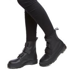 womens dr martens black dm coralia 3 velcro strap boot boots